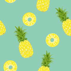 Seamless pattern Pineapple Exotic tropical fruit.retro color style.printing wallpaper.vector illustration