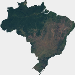 Large (142 MP) satellite image of Brazil. Country photo from space. Isolated imagery of Brazil. Elements of this image furnished by NASA.