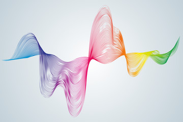 Abstract smooth curved lines Design element Technological background with a waveform line Stylization of a digital equalizer soundwave Smooth flowing wavy stripes of a rainbow made by blends Vector