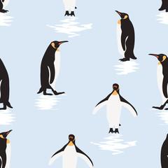 Seamless pattern penguin cartoon  standing on ice .printing wallpaper.vector illustration