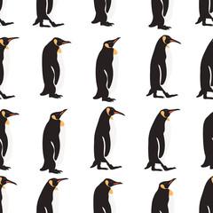 Seamless pattern penguin on white background .printing wallpaper.vector illustration