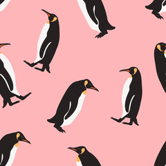 Seamless pattern penguin cartoon  on pink background .printing wallpaper.vector illustration