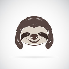 Vector of a sloth head on white background. Wild Animals. Vector illustration. Easy editable layered vector illustration.
