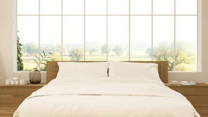 Wall Mural - The interior minimal style hotel bedroom space 3d rendering and nature view