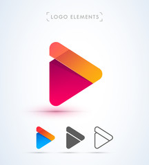 Play button logo design template. Music icons collection. Material design, flat, line art styles. App