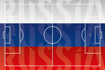 Russia flag with football field, vector illustration