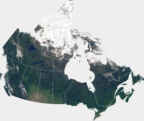 Large (129 MP) satellite image of Canada with internal (provinces) borders. Country photo from space. Isolated imagery of Canada. Elements of this image furnished by NASA.
