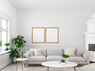 living room with empty picture frames and fireplace. 3d rendering