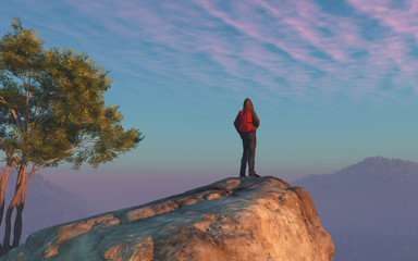A hiker looks over the top of the mountain.