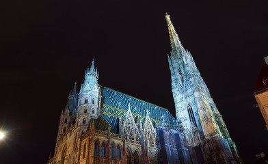 Stephansdom or St. Stephen's Cathedral (1137-1160) in the Stephansplatz at night, Vienna, Austria