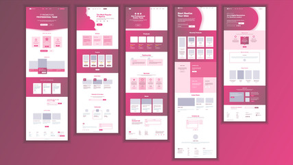 Website Page Vector. Business Agency. Web Page. Design Front End Site Scheme. Landing Template. Gadget Virtual. Modern Marketing.Protection Receipt. Illustration