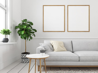 living room with empty picture frames. 3d rendering