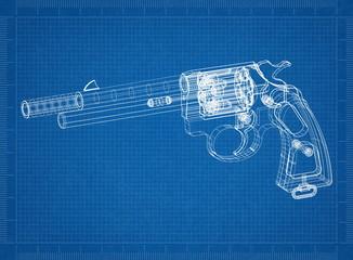 pistol - revolver Architect blueprint