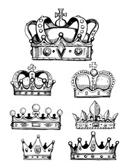 Set of sketches of crowns