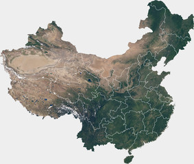 Large (148 MP) satellite image of China with internal borders. Country photo from space. Isolated imagery of China. Elements of this image furnished by NASA.