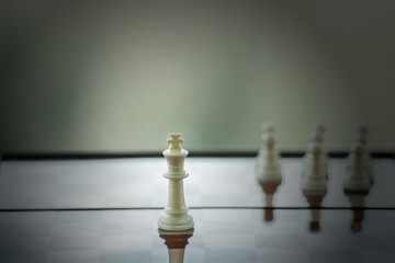 Chess on a Board of wood.  nature background.  game, strategy, management or leadership, business success concept .