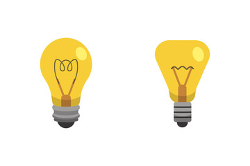 Light bulb and lamp set in cartoon style. Main electric lighting types vector. Idea illustration.