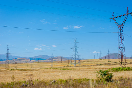 Electric wires over dry fields, Armenia