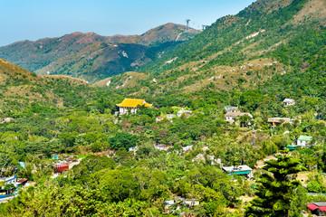 Landscape of Ngong Ping Plateau on Lantau Island in Hong Kong
