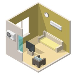 Isometric living room interiors vector 3d set