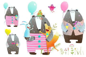 Collection of bear and fox and rabbit with balloons and flowers . Vector illustration.