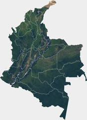 Large (25 MP) satellite image of Colombia with internal (departments) borders. Country photo from space. Isolated imagery of Colombia. Elements of this image furnished by NASA.