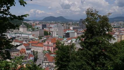 Overview of Ljubljana seen from castle
