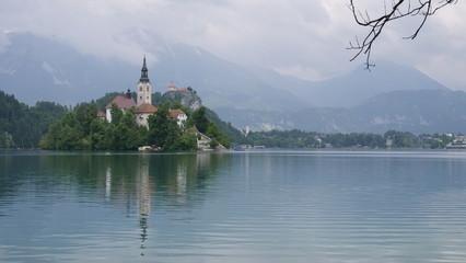 Church at Bled island and Alpine lake, Slovenia