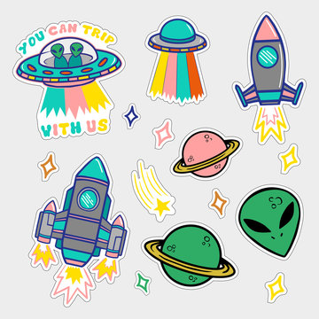 Set stickers or patches on space topic