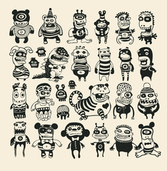 Funny Characters Set. Vector Illustration