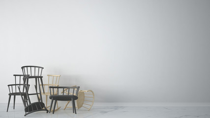 Group of gray modern scandinavian classic and rocky chairs stacked up in contemporary empty interior with marble floor, architect designer concept, blank background with design copy space