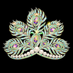Illustration crown tiara female peacock feather gold with precious stones and pearls