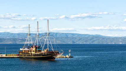 Travelling ship, Athos, Halkidiki, Greece