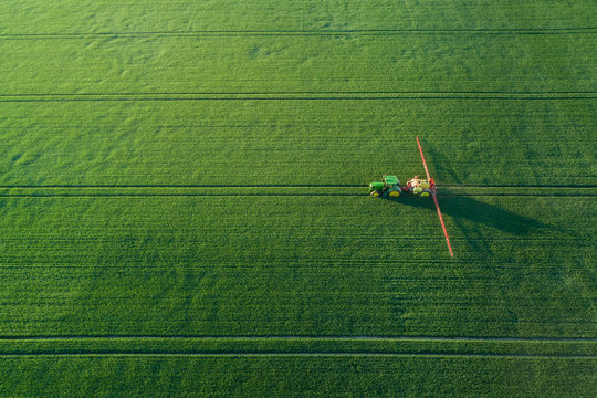 Tractor with a sprayer on a green field - aerial view