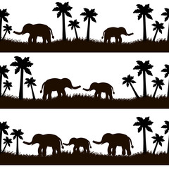 Seamless pattern with black elephants and their babies, grass, palm trees on the white background.