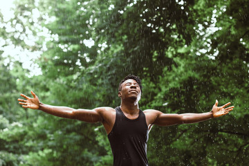 black man in the rain