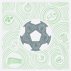 Sports Illustration With Soccer / Football Ball And Symbols in Hand Drawn Style.