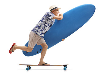 Elderly tourist with a surfboard riding a longboard