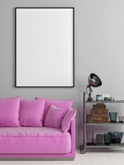 Mock up poster in Loft with pink pudding sofa, 3d render, 3d illustration
