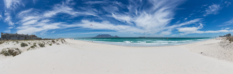 Panorama of Table Mountain from Blouberg with blue sky