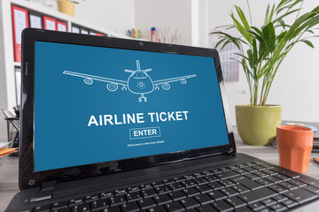 Airline ticket concept on a laptop