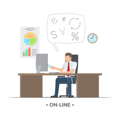 Online Person Working on Vector Illustration White