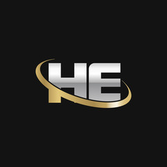 Initial letter HE, overlapping swoosh ring logo, silver gold color on black background