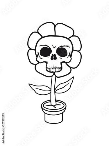 totenkopf skelett schädel tot tod blumentopf lustig süß niedlich ...