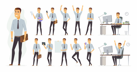 Cheerful businessman - vector cartoon people character set