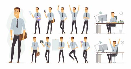 Cheerful businessman - vector cartoon people character set Wall mural