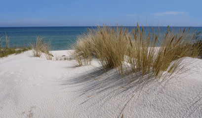 Hel city in Poland stock images. Sand dunes on the Baltic Sea. White sandy beach