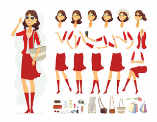 Fashionable woman - vector cartoon people character constructor