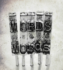 The word  WORDS  with old typewriter hammers  with old paper