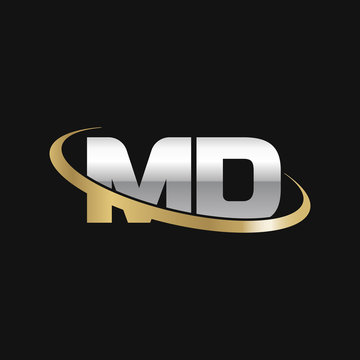 Initial letter MD, overlapping swoosh ring logo, silver gold color on black background